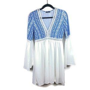 SHEIN White/Cobalt Blue V-Neck Embroidered Dress
